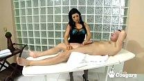 Masseuse With A Huge Rack Jacksoff Her Client & Has Her Tits Covered With Cum