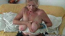 Big boobed granny Isabel needs to get off in pantyhose