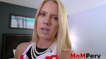 Blonde stepmom shows how POV reverse cowgirl looks like